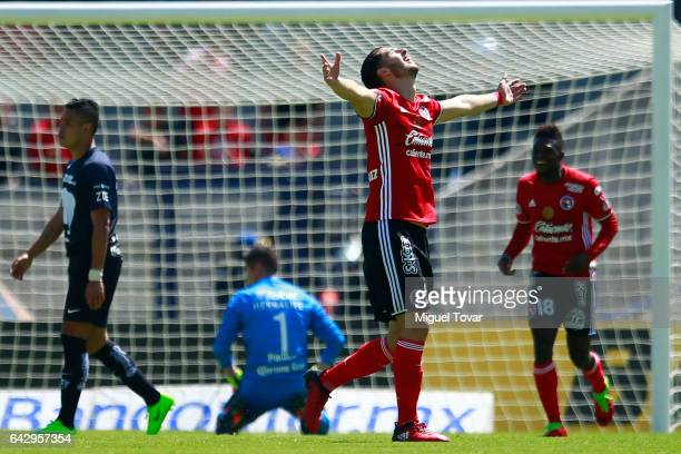 Guido Rodriguez of Xolos celebrates after scoring the third goal of his team during the 7th round match between Pumas UNAM and Tijuana as part of the...