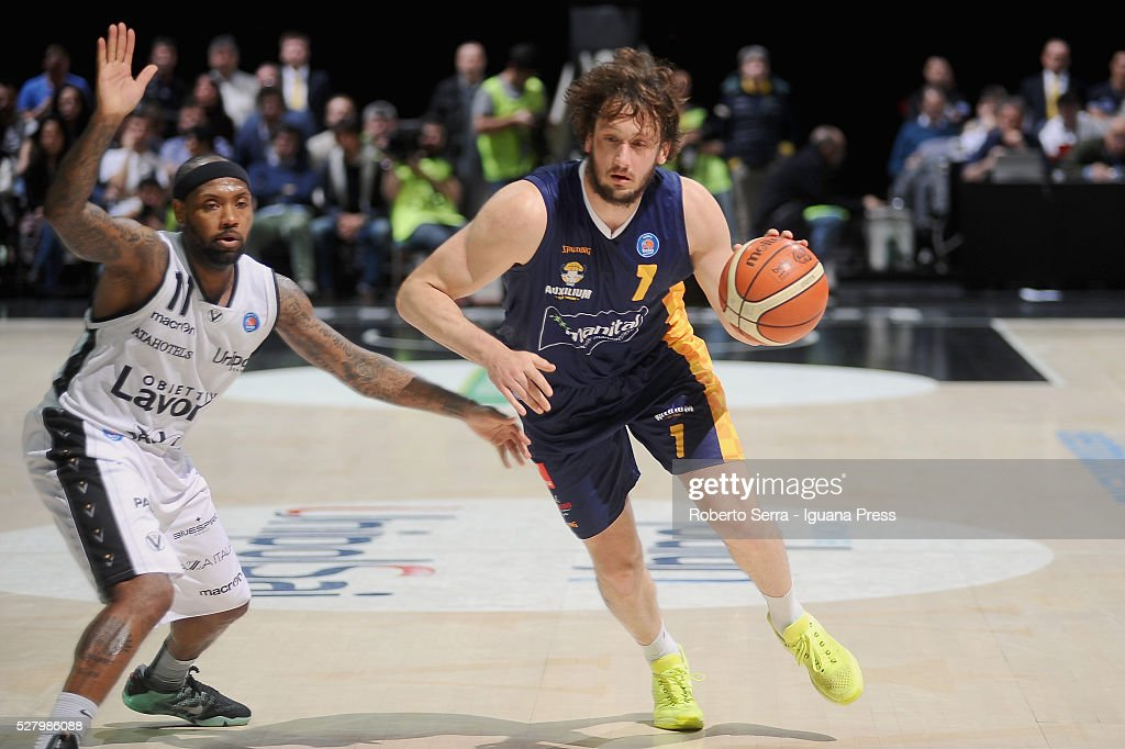 Guido Rosselli of Manital competes with Andre Collins of Obiettivo Lavoro during the LegaBasket match between Virtus Obiettivo Lavoro Bologna v...