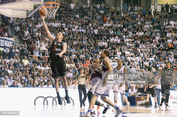 Guido Rosselli of Segafredo competes with Alex Legion and Stefano Mancinelli and Justin Knox of Kontatto during the LegaBasket LNP of serie A2 match...