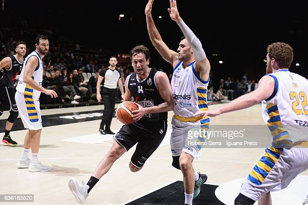 Guido Rosselli of Segafredo competes with Giorgio Bascagin and Dane Diliegro and Giovanni Pini of Tezenis during the match of LNP LegaBasket Serie A2...