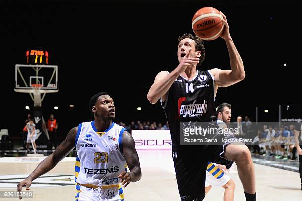 Guido Rosselli of Segafredo competes with Michael Antonio Frazier of Tezenis during the match of LNP LegaBasket Serie A2 between Virtus Segafredo...