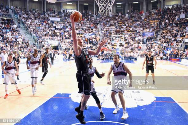 Guido Rosselli of Segafredo competes with Michele Ruzzier Justin Knox Alex Legion Stefano Mancinelli of Kontatto during the LegaBasket LNP of serie...
