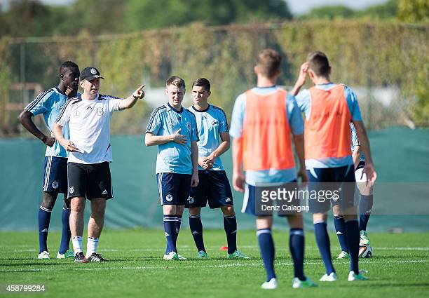 Guido Streichsbier gives instructions during training session of the U18 team of Germany on November 11 2014 in Belek Turkey