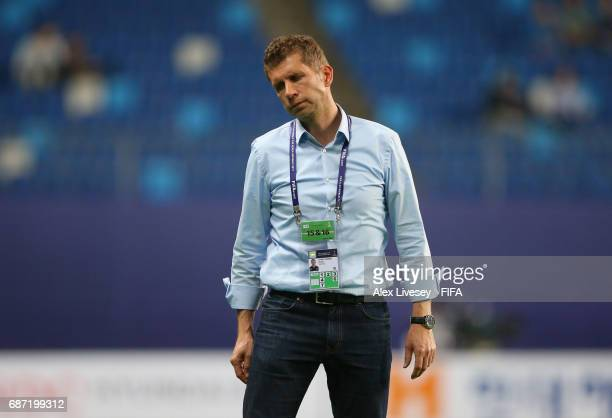Guido Streichsbier the coach of Germany reacts during the FIFA U20 World Cup Korea Republic 2017 group B match between Mexico and Germany at Daejeon...