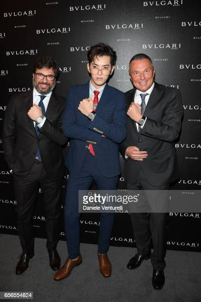 Guido Terreni Kris Wu and JeanChristophe Babin attend Bvlgari Cocktail At Baselworld 2017 on March 22 2017 in Basel Switzerland