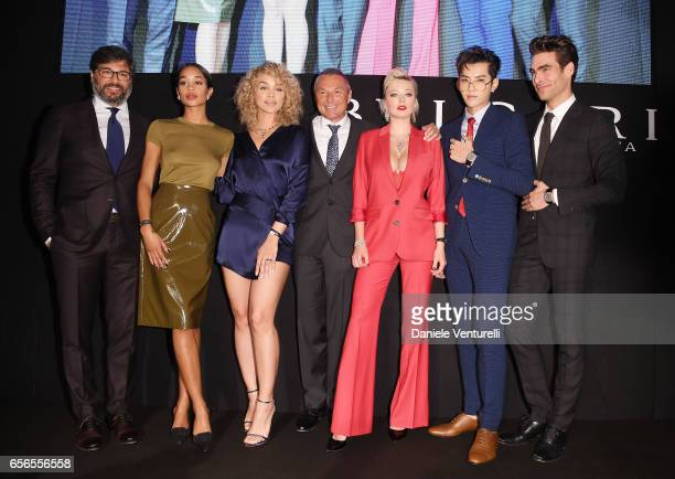 Guido Terreni Laura Harrier Jasmine Sanders JeanChristophe Babin Caroline Vreeland Kris Wu and Jon Kortajarena attend Bvlgari Cocktail At Baselworld...