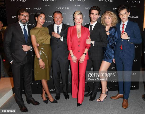 Guido Terreni Laura Harrier JeanChristophe Babin Kris Wu Caroline Vreeland Jon Kortajarena and Jasmine Sanders attend Bvlgari Cocktail At Baselworld...