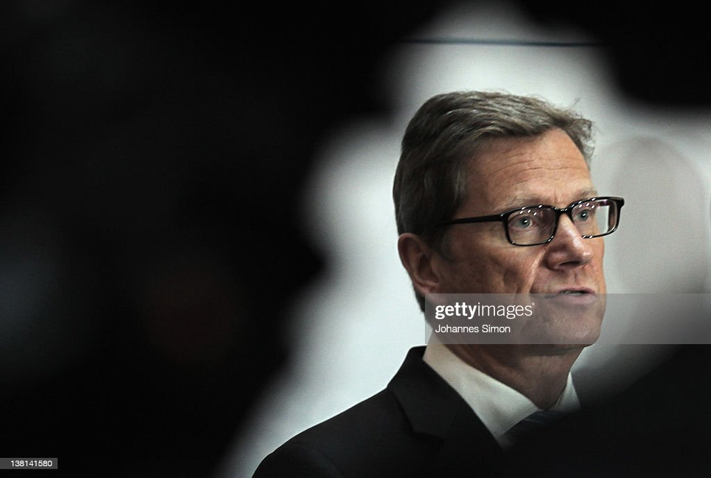 <a gi-track='captionPersonalityLinkClicked' href=/galleries/search?phrase=Guido+Westerwelle&family=editorial&specificpeople=208748 ng-click='$event.stopPropagation()'>Guido Westerwelle</a>, German Minister of Foreign Affairs addresses the media during the first day of the 48th Munich Security Conference at Hotel Bayerischer Hof on February 3, 2012 in Munich, Germany. The 48th Munich conference on security policy is running till February 5, 2012.