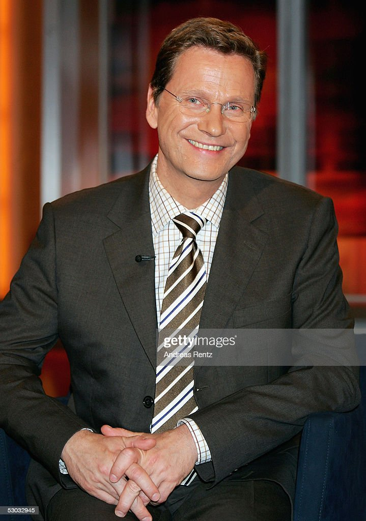 Guido Westerwelle, head of the FDP politicial party, attends the Johannes B. Kerner Show on June 07, 2005 in Hamburg, Germany