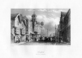 Guildford High Street Guildford Surrey 19th century The facade and clock were added to the Tudor Guildhall in 1683