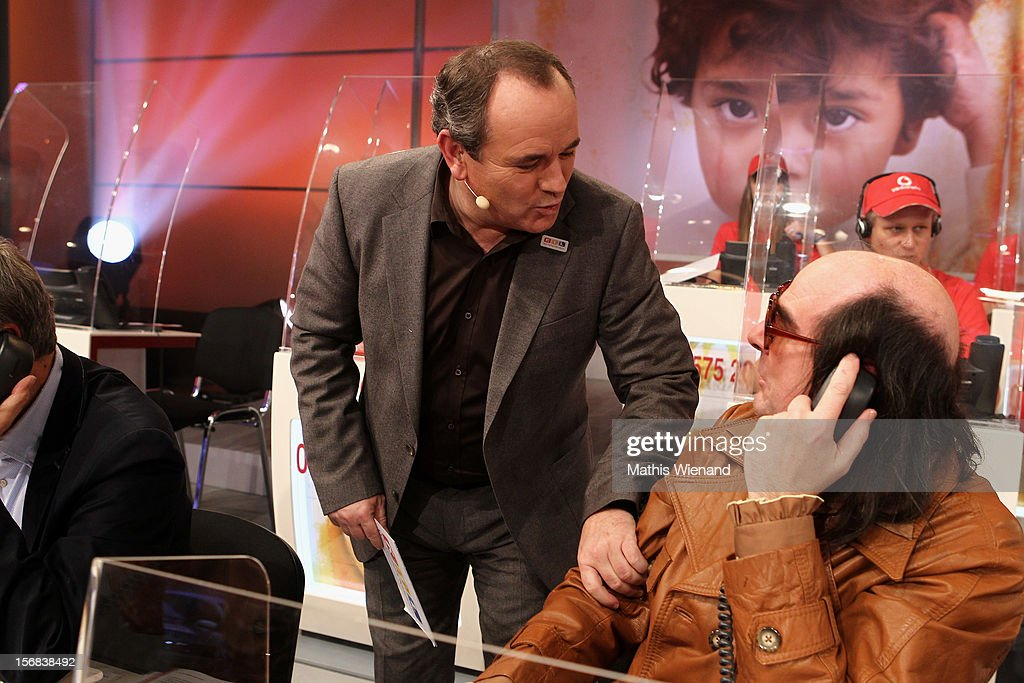 Guildo Horn mans the phones at the 'RTL Spendenmarathon' at RTL Studio Huerth on November 22, 2012 in Cologne, Germany.