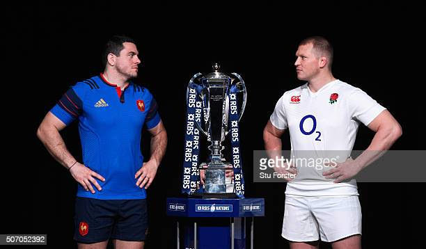 Guilhem Guirado captain of France and Dylan Hartley captain of England pose with the trophy during the RBS Six Nations launch at The Hurlingham Club...