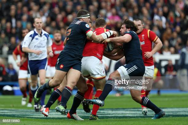 Guilhem Guirado of France and evin Gourdon during the RBS 6 Nations rugby match between France and Wales at Stade de France on March 18 2017 in...