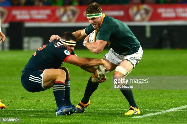 Guilhem Guirado of France and Jaco Kriel of the Springboks during the 3rd Castle Lager Incoming Series Test match between South Africa and France at...