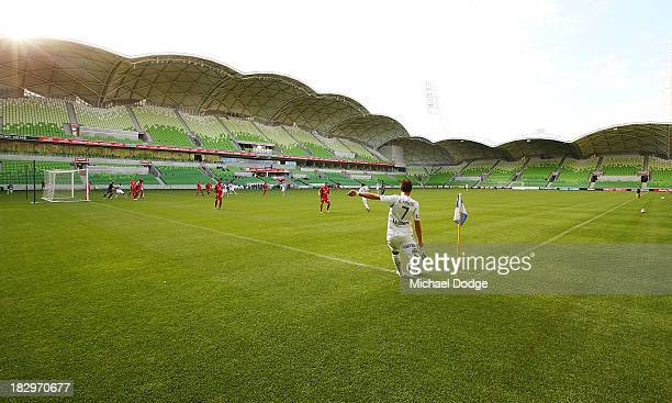 Guilhemme Finklier of the Victory kicks the ball from the corner during the ALeague preseason match between the Melbourne Victory and Adelaide United...