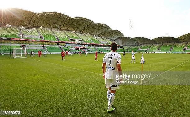 Guilhemme Finklier of the Victory prepares to take a kick from the corner during the ALeague preseason match between the Melbourne Victory and...