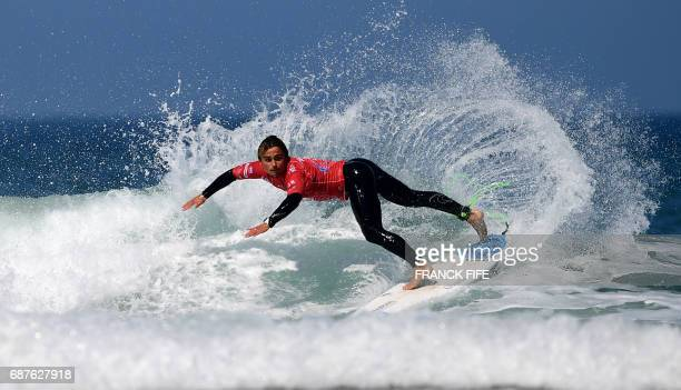 TOPSHOT Guilherm Fonseca of Portugal competes during the heat 65 Round 2 on May 24 2017 in Biarritz southwestern France during the 2017 ISA World...