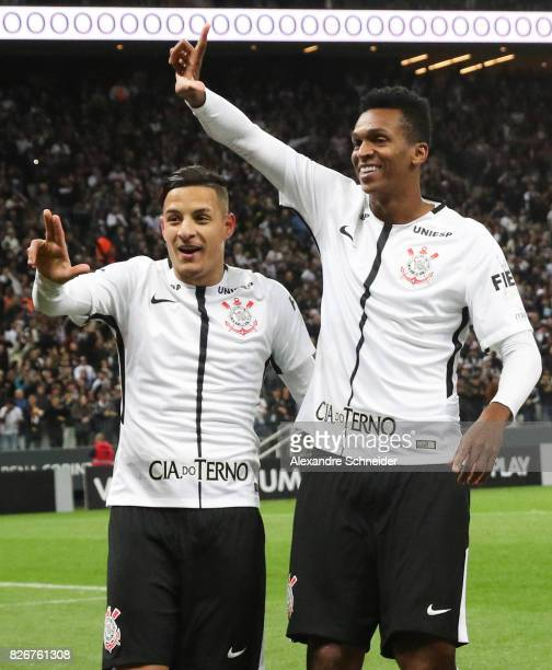 Guilherme Arana and Jo of Corinthians celebrates their first goal during the match between Corinthians and Sport Recife for the Brasileirao Series A...