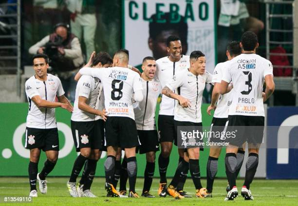 Guilherme Arana of Corinthians celebrates their second goal during the match between Palmeiras and Corinthians for the Brasileirao Series A 2017 at...