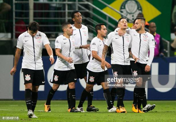Guilherme Arana of Corinthians celebrates their second goal during the match between Palmeiras and Corinthians for the Brasileirao Series A 2017 at...