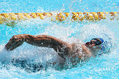 Guilherme Augusto Guido competes in the men's 100m backstroke during the Brazilian Senior National Championships Daltely Guimaraes Trophy Day 1 on...