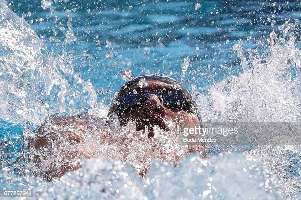Guilherme Augusto Guido of Brazil competes in the Men's 100m Backstroke heats during Maria Lenk Swimming Trophy 2017 Day 2 at Maria Lenk Aquatics...
