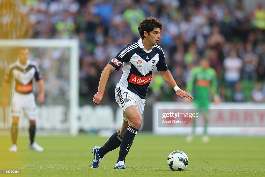 Guilherme Finkler of the Victory controls the ball during the round 13 A-League match between the Melbourne Victory and the Newcastle Jets at AAMI Park on December 28, 2012 in Melbourne, Australia.
