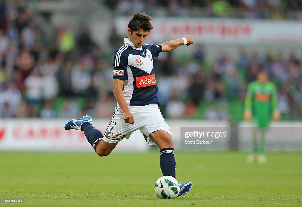 Guilherme Finkler of the Victory kicks the ball during the round 13 A-League match between the Melbourne Victory and the Newcastle Jets at AAMI Park on December 28, 2012 in Melbourne, Australia.