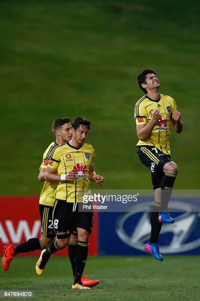 Guilherme Finkler of Welington celebrates his goal during the round 22 ALeague match between the Wellington Phoenix and the Perth Glory at QBE...