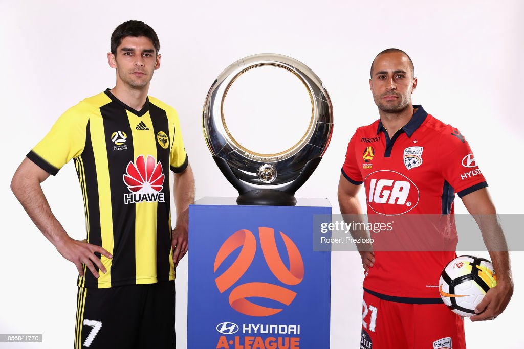 Guilherme Finkler of Wellington Phoenix and Tarek Elrich of Adelaide United pose during the 2017/18 A-League Season Launch at Port Melbourne SC on October 3, 2017 in Melbourne, Australia.