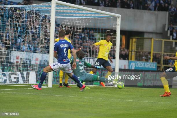 Guillaume Baptiste of Racing Strasbourg shot the ball of 10 during Racing Strasbourg v Le Havre Ligue2 match in Strasbourg France on 28 April 2017