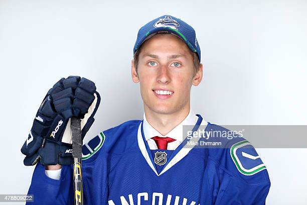 Guillaume Brisebois poses for a portrait after being selected 66th overall by the Vancouver Canucks during the 2015 NHL Draft at BBT Center on June...