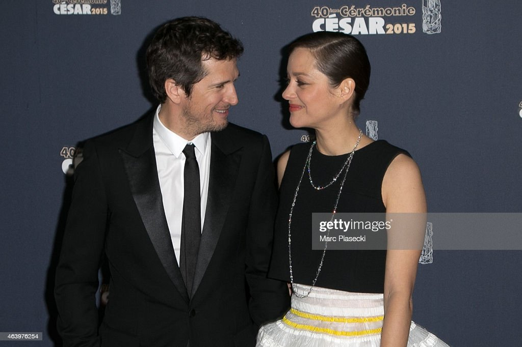 Guillaume Canet and Marion Cotillard attend the 'CESARS' Film awards at Theatre du Chatelet on February 20 2015 in Paris France