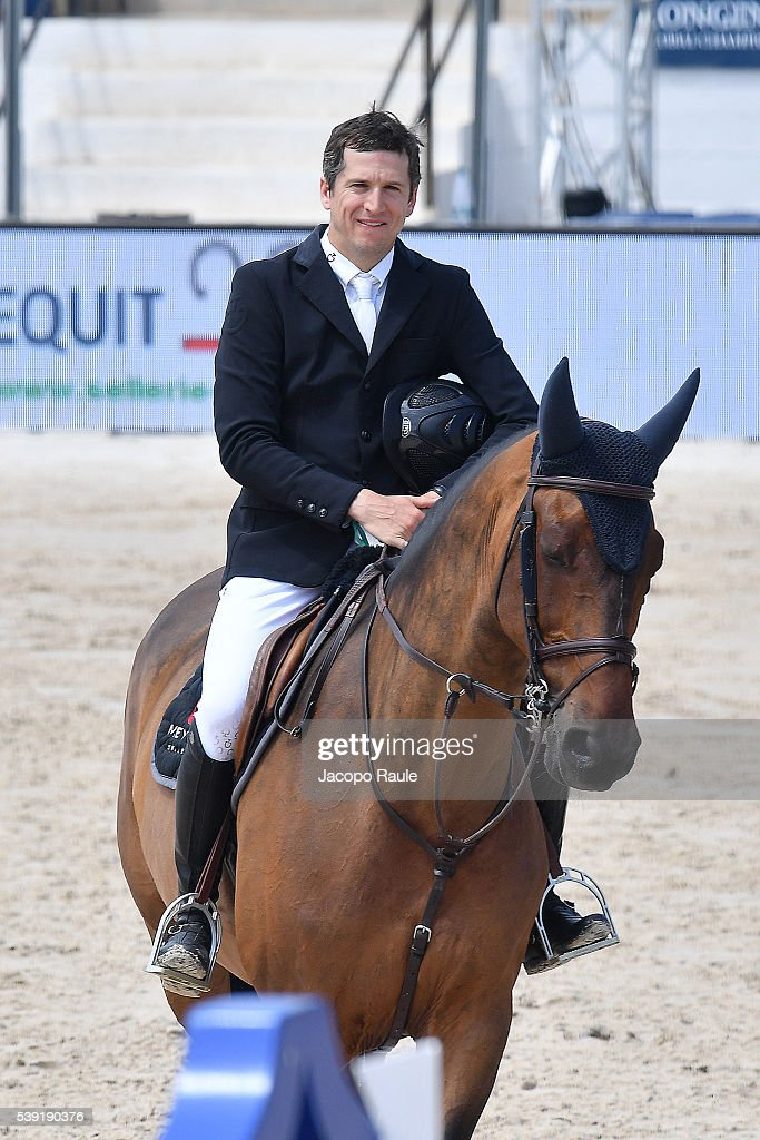 <a gi-track='captionPersonalityLinkClicked' href=/galleries/search?phrase=Guillaume+Canet&family=editorial&specificpeople=240267 ng-click='$event.stopPropagation()'>Guillaume Canet</a> competes at International Longines Global Champion Tour - Day 2 on June 10, 2016 in Cannes, France.