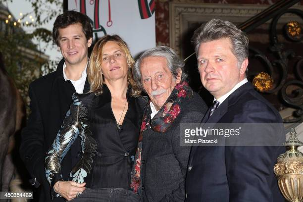 Guillaume Canet Virginie Couperie Eiffel actor Jean Rochefort and Indoor Masters CEO Christophe Ameeuw attend the 'Gucci Paris Masters 2013' press...