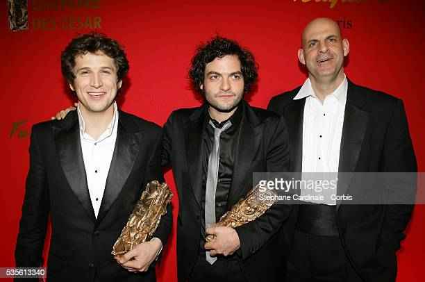 Guillaume Canet with his Cesar award for 'Best Director' Mathieu Chedid with his Cesar award for 'Best Music' and Harlan Coben arrive at the post...