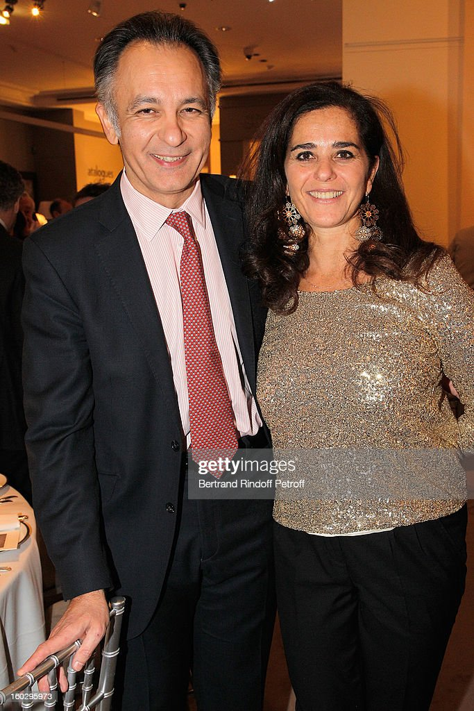 Guillaume Cerutti, Deputy Chairman Europe and Chief Executive Officer Sotheby's France (L), and Anne Heilbronn, Vice President, Sotheby's France, Head of Department, Books and Manuscripts, attend a dinner in honor of Helene David-Weill at Sotheby's on January 28, 2013 in Paris, France.