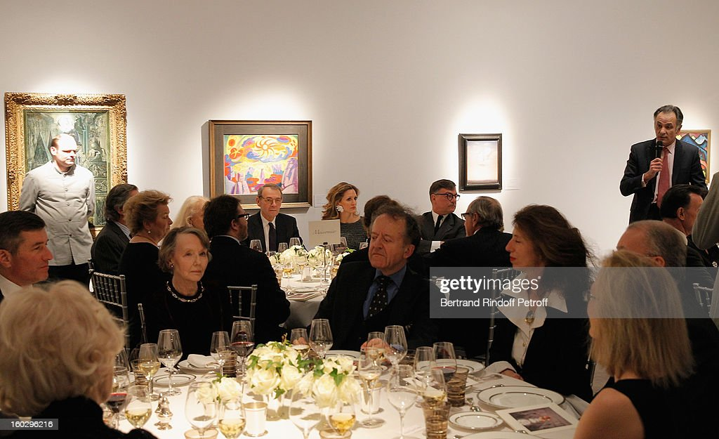 Guillaume Cerutti, Deputy Chairman Europe and Chief Executive Officer Sotheby's France, rear right, delivers a speech during a dinner in honor of Helene David-Weill, who presided through 1994 - 2012 Les Arts Decoratifs, one of the largest decorative arts museums in the world, at Sotheby's on January 28, 2013 in Paris, France.