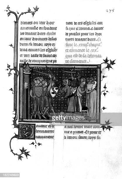 Guillaume de SaintPathus 'The Life and Miracles of Saint Louis' The Crusades f° 275 Saint Louis in the midst of battle saves a Saracen and her child...