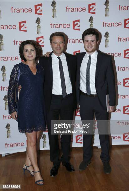 Guillaume de Tonquedec his wife Christele and his Son Amaury attend 'La Nuit des Molieres 2017' at Folies Bergeres on May 29 2017 in Paris France