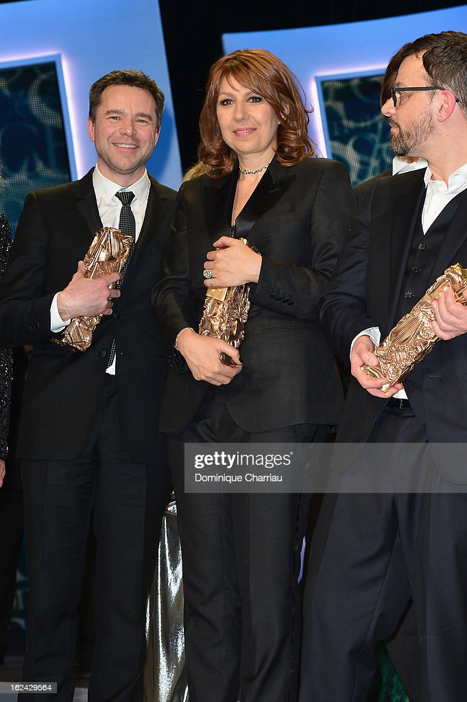 Guillaume de Tonquedec, Valerie Benguigui and Cyril Mennegun attend the Cesar Film Awards 2013 at Theatre du Chatelet on February 22, 2013 in Paris, France.