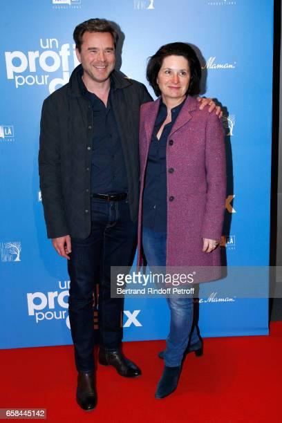 Guillaume de Tonquedec with his wife Christelle attend the 'Un profil pour deux' Paris Premiere at Cinema UGC Normandie on March 27 2017 in Paris...