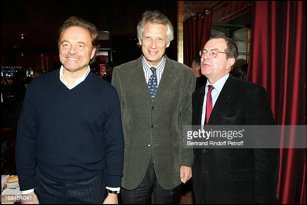 Guillaume Durand Dominique De Villepin Marc Tessier at 100th Episode Of 'Campus' Of Guillaume Durant At Le Cafe De L'Homme Restaurant At The Trocadero