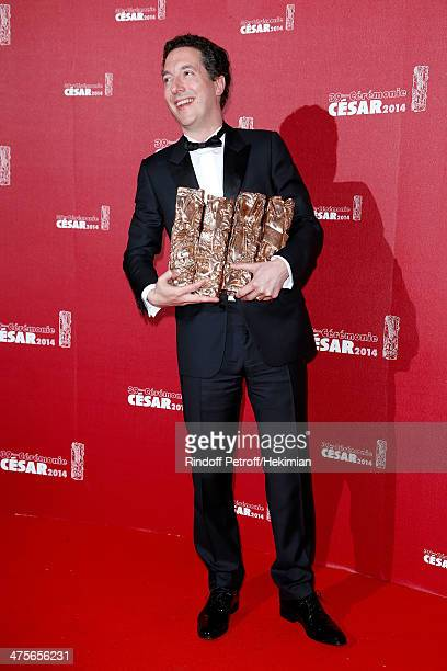 Guillaume Gallienne winner of the Best Actor Best First Film Best Adapted Screenplay and Best Film awards poses in the awards room during the 39th...