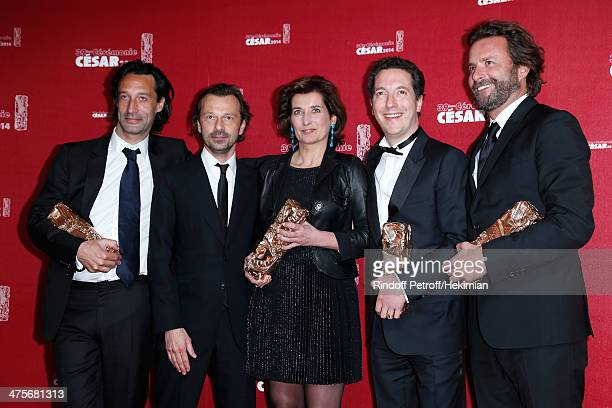 Guillaume Gallienne winner of the Best Actor Best First Film Best Adapted Screenplay and Best Film awards poses with Editor Valerie Deseine winner of...