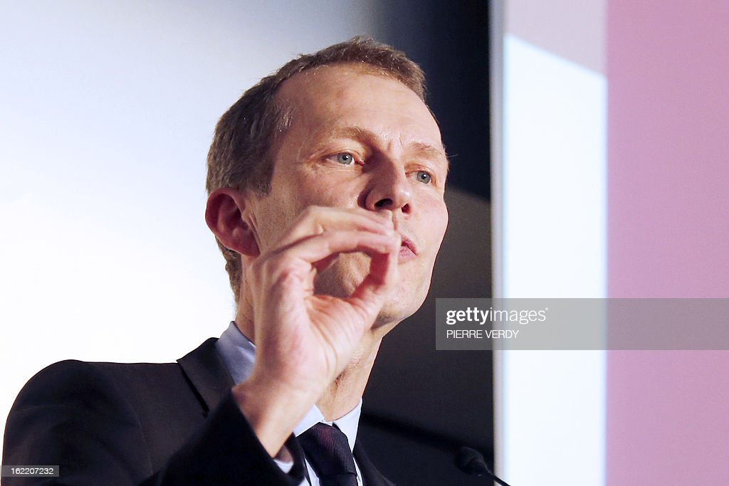 Guillaume Garot, Junior minister for Food Industry delivers a speech during the plenary session of the first general assembly of the meat industry interbranch, on February 20, 2013 in Paris. AFP PHOTO PIERRE VERDY