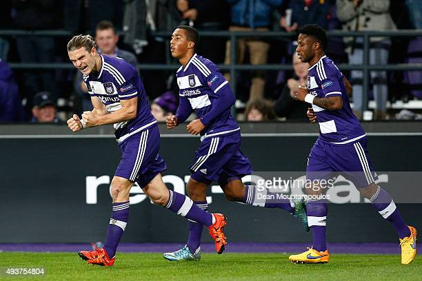 Guillaume Gillet of Anderlecht celebrates after scoring a goal to level the scores at 11 during the UEFA Europa League Group J match between RSC...