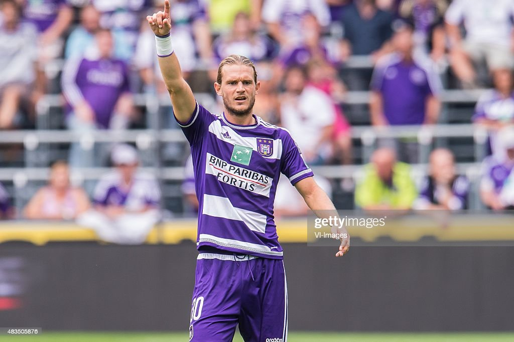 <a gi-track='captionPersonalityLinkClicked' href=/galleries/search?phrase=Guillaume+Gillet&family=editorial&specificpeople=4542498 ng-click='$event.stopPropagation()'>Guillaume Gillet</a> of RSC Anderlecht during the Jupiler Pro League match between RSC Anderlecht and KAA Gent on August 9th, 2015 at the Constant Vanden Stockstadion in Brussels, Belgium.