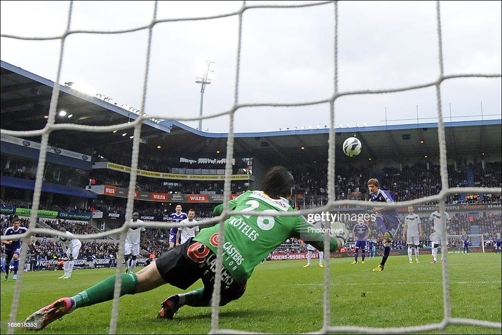 Guillaume Gillet of RSC Anderlecht misses a penalty during the Jupiler League play-off 1 match between KRC Genk and RSC Anderlecht on May 12, 2013 in the Cristal Arena in Genk, Belgium.