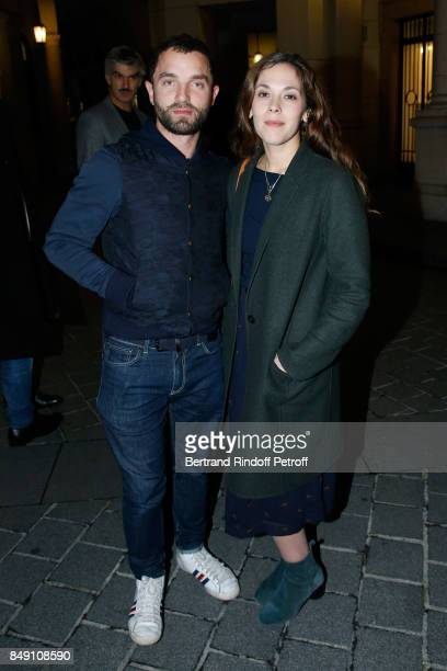 Guillaume Gouix and Alysson Paradis attend 'La vraie vie' Theater Play at Theatre Edouard VII on September 18 2017 in Paris France